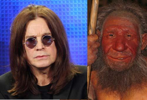 Ozzy Osbourne (à esquerda) tem parte do DNA de Neandertal (reconstituição à direita)